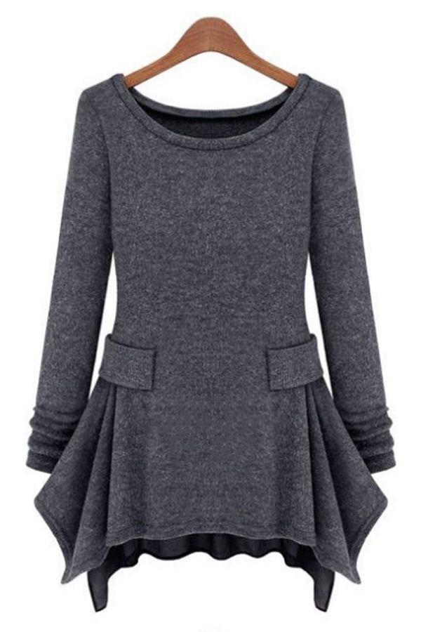 Irregular Hemline Long Sleeve Knit Dress - OASAP.com