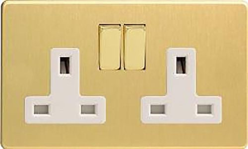 Brushed-Brass-Screwless-Switched-Plug-Sockets-13A-Gang-Insert-Option