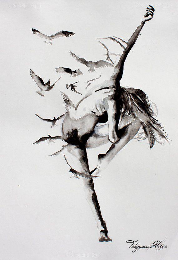 Ballerina watercolor art print. Wall art, wall decor