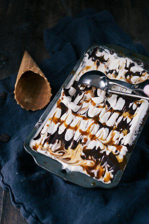 Cremiges Bananeneis mit Schokoladen- und Karamellstrudeln. Melden Sie mich an. Holen Sie sich d …   – Desserts