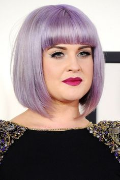 purple bob hairstyle for fat faces