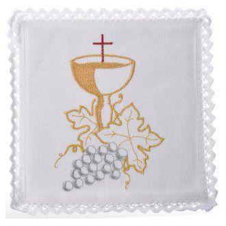 Manteles del altar establecen, con cáliz y uvas   venta online en HOLYART