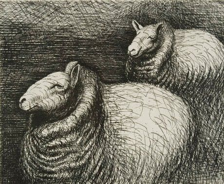 Henry Moore - 1898-1986, English Known primarily as a sculptor, he also made wonderful drawings. His drawings of sheep are really fun to try to emulate. Look at them closely - they are made totally of scribbles. He used looser scribbles for light tones and denser scribbles for dark tones.