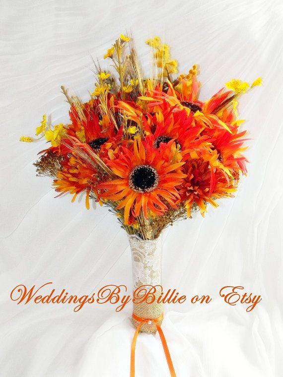 Fall Wedding Bouquet, Fall Leaf Orange Bouquet, Orange Bridal Bouquet, Orange Wedding, Wildflower Bouquet, Orange Silk Bouquet, Weddings