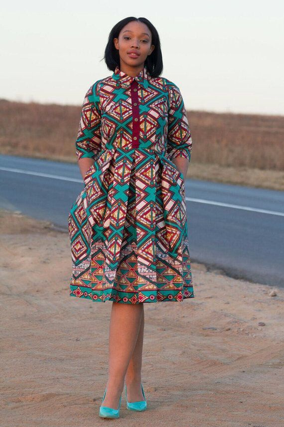 Multi coloured african print dress ankara by EssieAfricanPrint