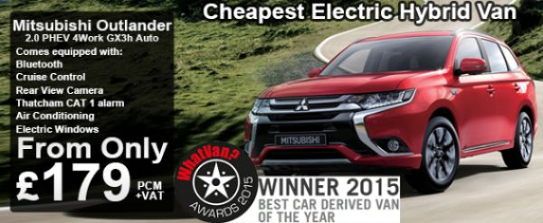 The Outlander PHEV is a great plug-in hybrid commercial vehicle. Congestion Charge exempt and winner of the What Van? Best car derrived van of 2015 and Greenfleet Awards 2015 winner amongst so many others! It's a great vehicle to introduce yourself to an electric hybrid.  Van. Vans. Car. Cars. Vehicle. Electric car. Plug-in hybrid. Mitsubishi. Green award.