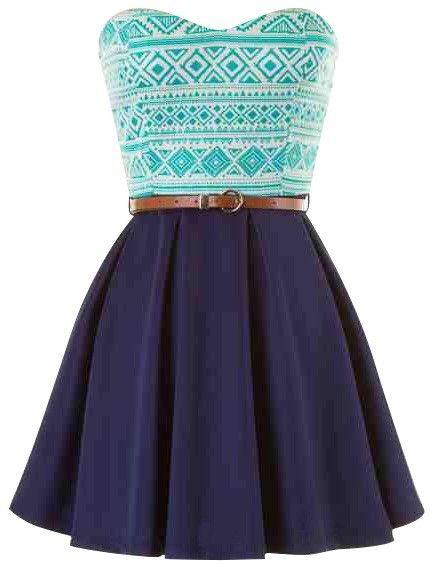 blue belted strapless tribal print skater dress | USTrendy  www.ustrendy.com #ustrendy