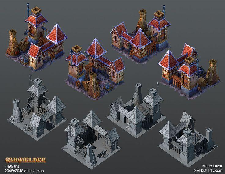 Warwielder Art Dump: hand-painted buildings ahead! - Polycount Forum via PinCG.com: