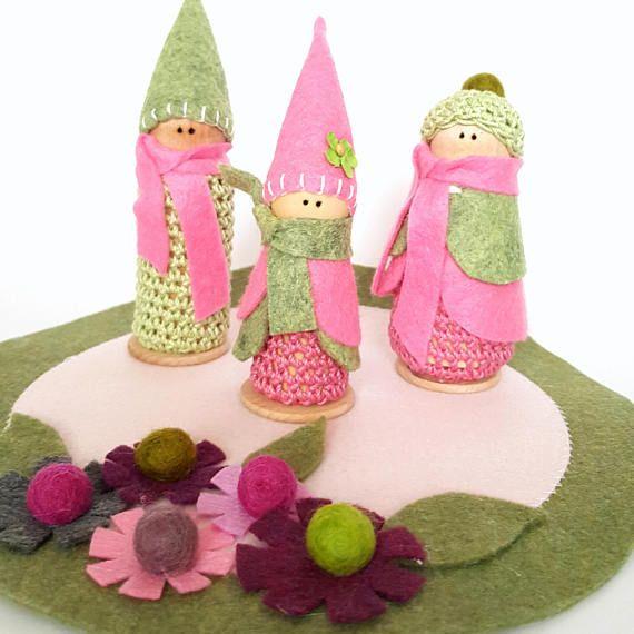 wooden toys Montessori play peg fairy kit fairy dolls handmade toys. Peg fairies