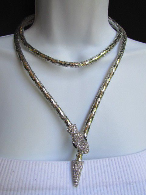 Silver Metal Extra Long Snake Rhinestones Thin Necklace New Women Fashion Style Jewelry Accessories