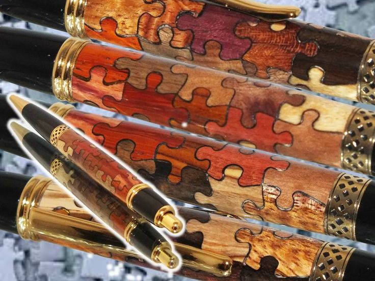 It's a jigsaw puzzle inlay pen! 20 separate pieces of exotic wood that were laser cut and pieced together by my brother