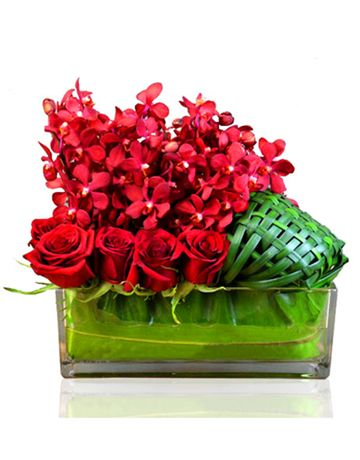 Red Roses and Orchids Vase