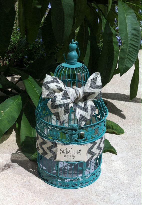 Wedding Reception Birdcage Card Holder, Wedding Card Box, Teal, Turquoise, Ivory & Gray Chevron Burlap on Etsy, $45.00