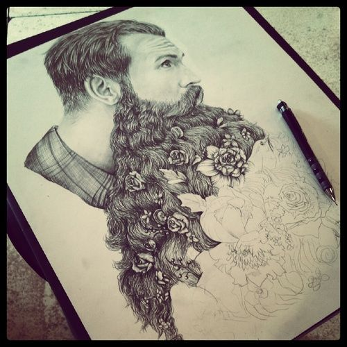 drawing Illustration art boyfriend cute Black and White hipster pencil flowers man sweet floral button Romantic beard Valentine bouquet plai...