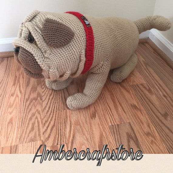 Pug dog crochet pattern. This cute crochet Pug dog you can make by yourself. Pattern is easy to follow, but it requires a lot of work. If you use on it Red Heart Super Saver jumbo yarn you get big gorgeous real size dog. Pattern is in English on 28 pages, has a lot of pictures. It