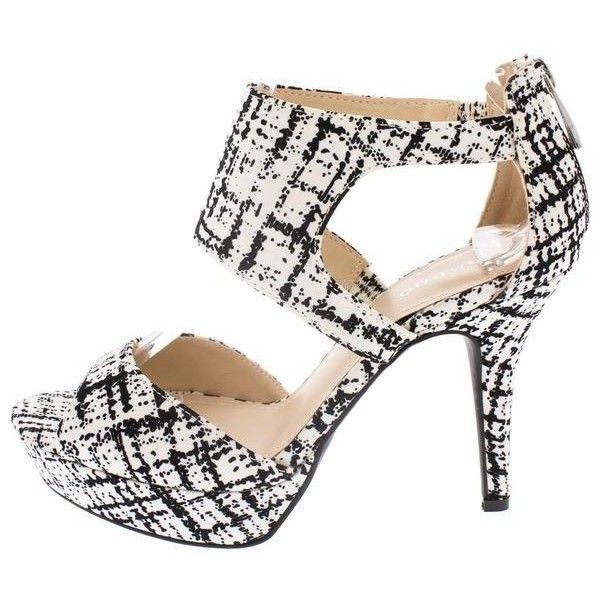 GLAMER02 BLACK WHITE TWEED PEEP TOE PLATFORM HEEL ($11) ❤ liked on Polyvore featuring shoes, peep-toe flats, peep toe flat shoes, black and white shoes, wedges shoes and black and white platform shoes