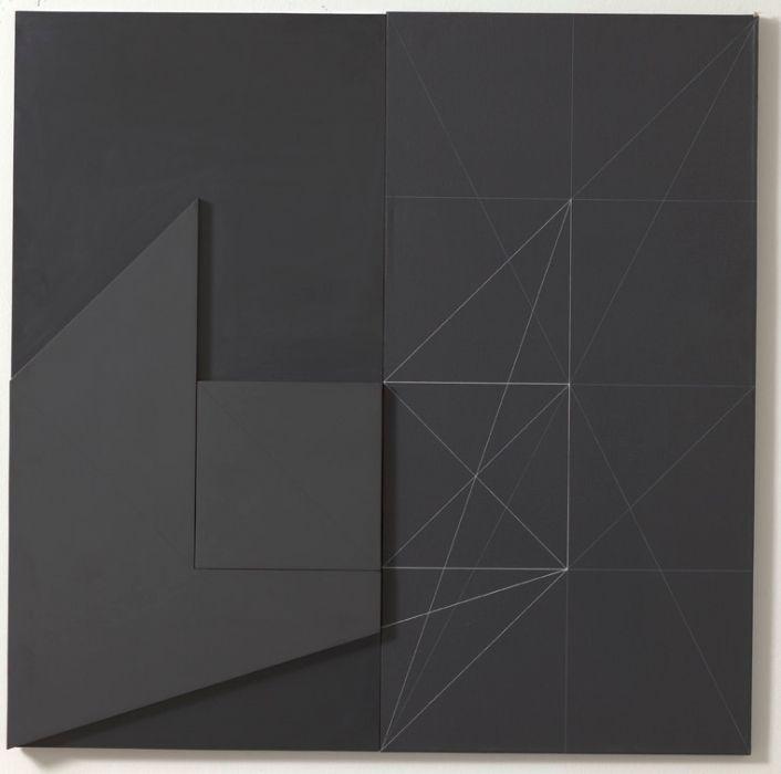 yama-bato: Gianfranco PARDI (1933-2012) Architettura SM 159 100 x 100 cm Acrilico su tela e metallo 1973 via