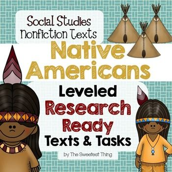 {Native Americans} Nonfiction Leveled Texts with Printable Activities - Perfect for ELA and SS integration and for use during guided reading!  Each text comes in 3 different Lexile levels (on, above, and below grade level). Five different Native American tribes are explored in great detail - *Southwest *Plains *Great Basin *Eastern Woodlands *Pacific Northwest.
