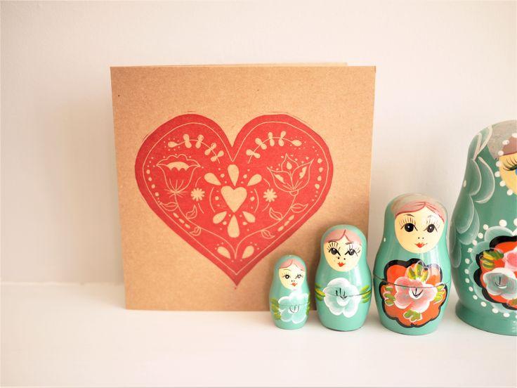 Folk art lino print red craft card hand printed Valentine card