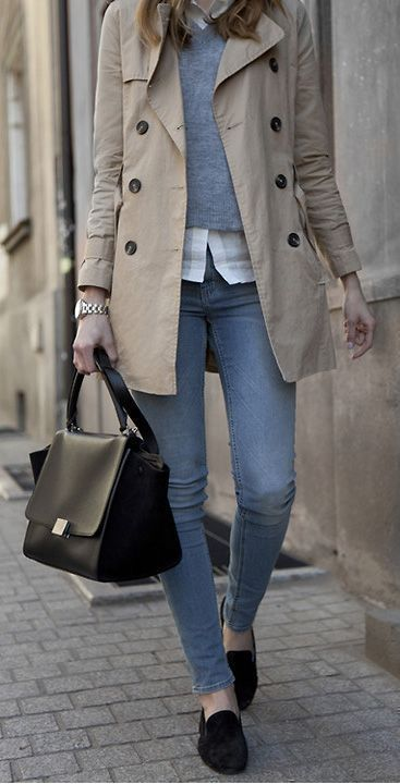 winter layered outfit idea for work | trench coat + shirt + sweater + bag + jean…