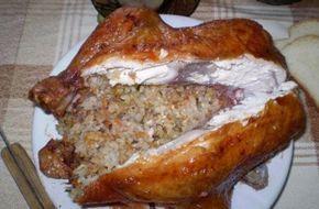 Pečené kurča plnené ryžou