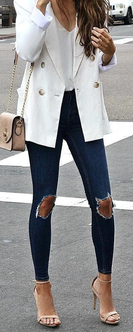 #winter #outfits white blazer, distressed blue skinny jeans and pair of brown open-toe ankle-strap heeled sandals. Pic by @high_5_to_fashion.