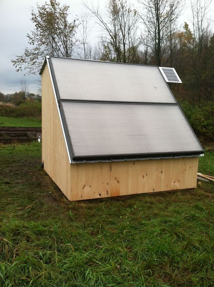 Idea for a solar shed, water heater/battery storage.