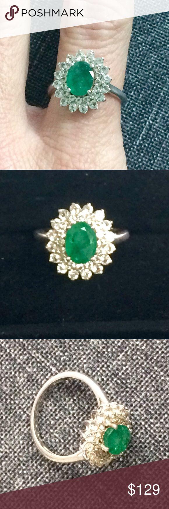 Zambian Emerald white Topaz Sterling Silver ring Gorgeous genuine Zambian Emerald and White Topaz ring set in sterling silver. Size 6 Jewelry Rings