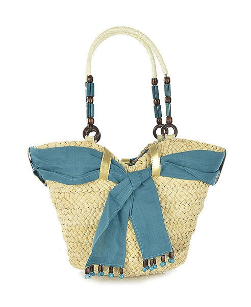 Chicnova Scarf Straw Weave Totes with Beaded Handle