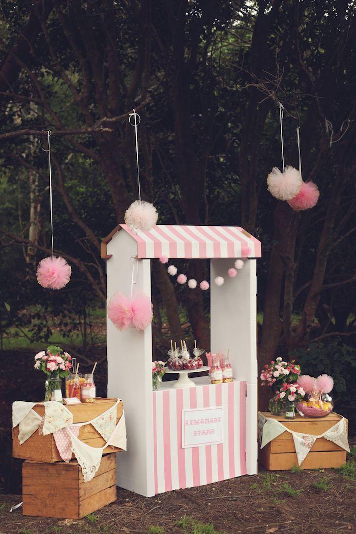 An Adorable Pink Lemonade themed birthday party via Kara s