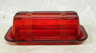 This is cute too! New RUBY RED Depression Glass Elongated Butter Dish on eBay!