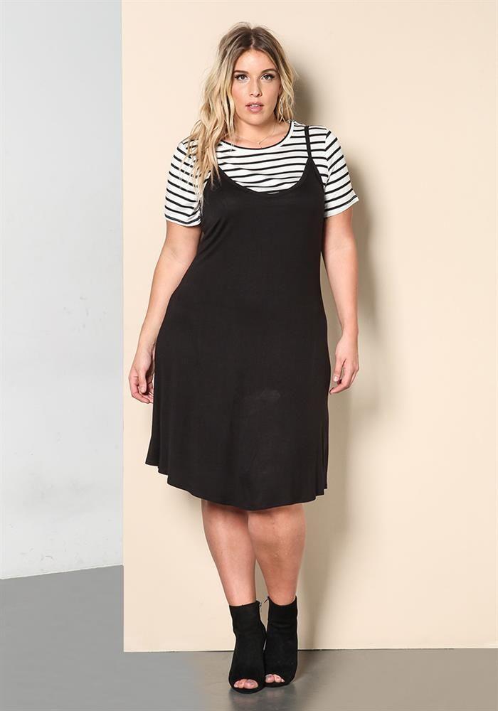 Plus Size Clothing | Plus Size Two Piece Stripe Shift Dress | Debshops