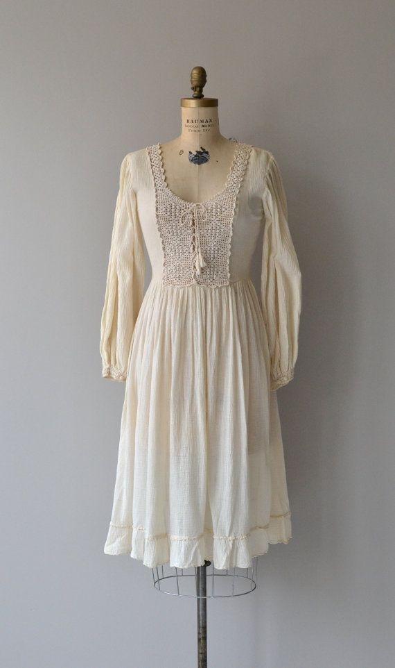 Tamilpais dress vintage 1970s dress cotton gauze by DearGolden