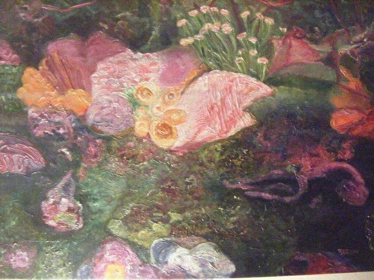 Fondo Marino cuadro pintado al oleo,