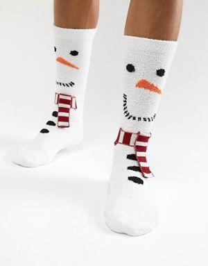 ASOS DESIGN – Christmas – Schneemann-Socken mit flauschigem Futter ... e81f406960e