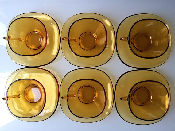 Vereco coffee cups and saucers / French amber glass / vintage