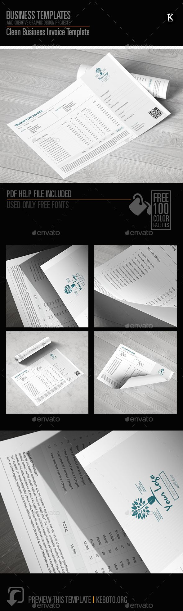 Clean Business Invoice Template by Keboto Preview this itemhereClean Business Invoice TemplateSpecifications: Software: Adobe InDesignFormat: A4 LandscapeColor Model: CMYKC