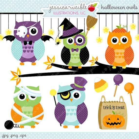 Halloween Owls Cute Digital Clipart- Commercial Use OK - Halloween Graphics, Halloween Clipart, Cute Halloween Owl