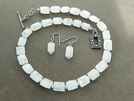 White Moonstone and Aquamarine Necklace with by MountainaireStudio,