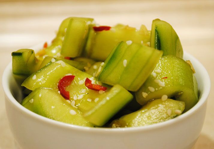Cucumbers with chili peppers are spicy, crunchy and aromatic.