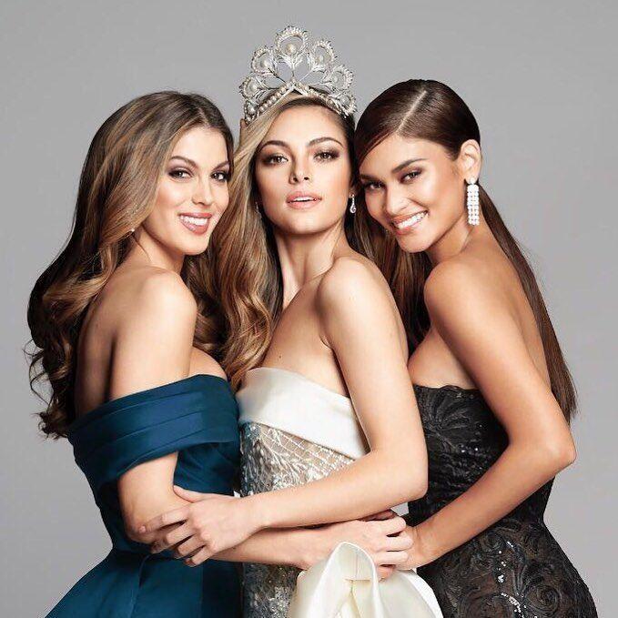 Nos trois dernières Miss Univers réunies (de gauche à droite) = Iris Mittenaere [Miss France et Univers 2016], Demi-Leigh Nel-Peters [Miss Afrique du Sud et Univers 2017] et Pia Wurtzbach [Miss Philippines et Univers 2015] ❤