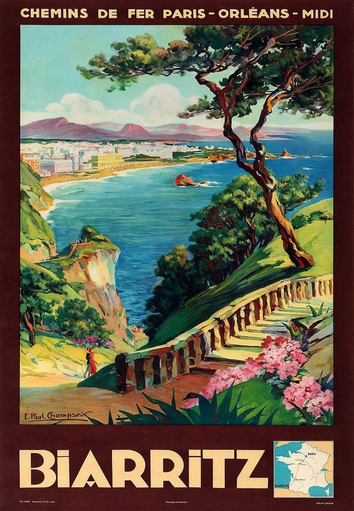 Affiche chemin de fer Paris Orléans et Midi - Biarritz - illustration de Champseix - France -