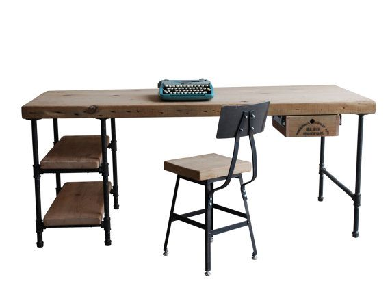 """For C + M: QTY (8) 1.65"""" top 72""""x30""""x 30""""h Pipe Desks each with (2) 11.5"""" x ~30"""" shelves on left and a keyboard tray, OIL Finish on all"""