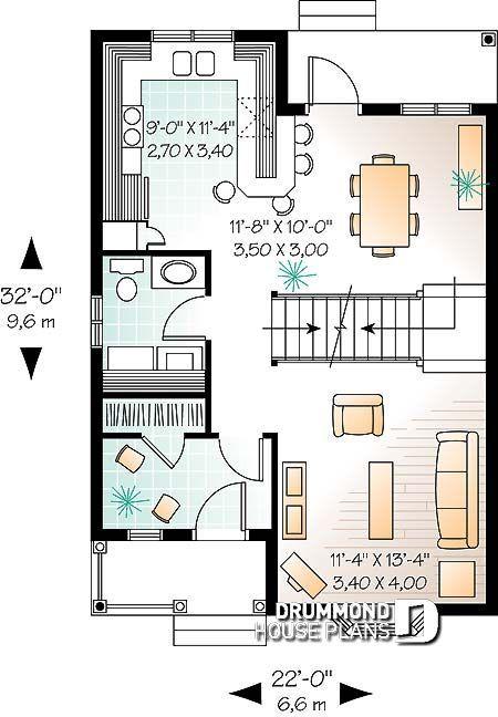 House plan W1738 detail from DrummondHousePlans Дизайн - plan maison plain pied 80m2