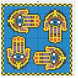 Egyptian biscornu pattern - Hamsa Patterns - #heartbeadwork #loombeading