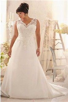 Linha-A/Princesa Gola-V Cauda Corte Chiffon Vestidos de Noiva