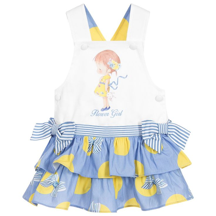 Lapin House Girls Blue & Ivory Dungaree Dress at Childrensalon.com