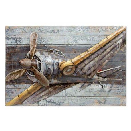 Cuadro el Avión madera pintado a mano retro clásico