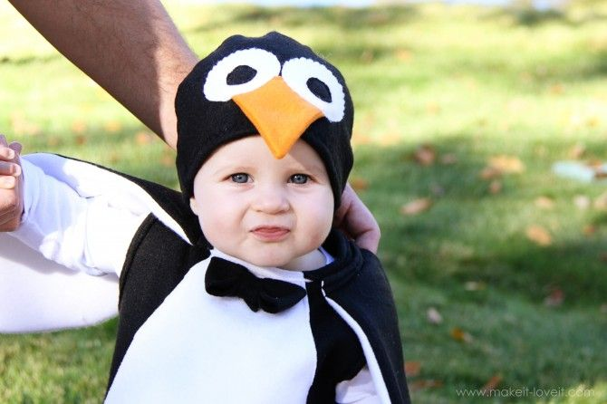 DIY Penguin Costume ~ includes a fleece hat tutorial that can be adapted for other costumes if needed