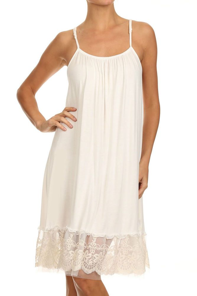 027273ad9c789 Knit cami slip/top or dress extender with lace and tulle trim on the bottom  in cream. Wear this under a dress as a slip or dress extender for those  shorter ...